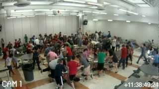 FOOD FIGHT AT BELMONT HIGH SCHOOL!!!! (Security Camera Footage)