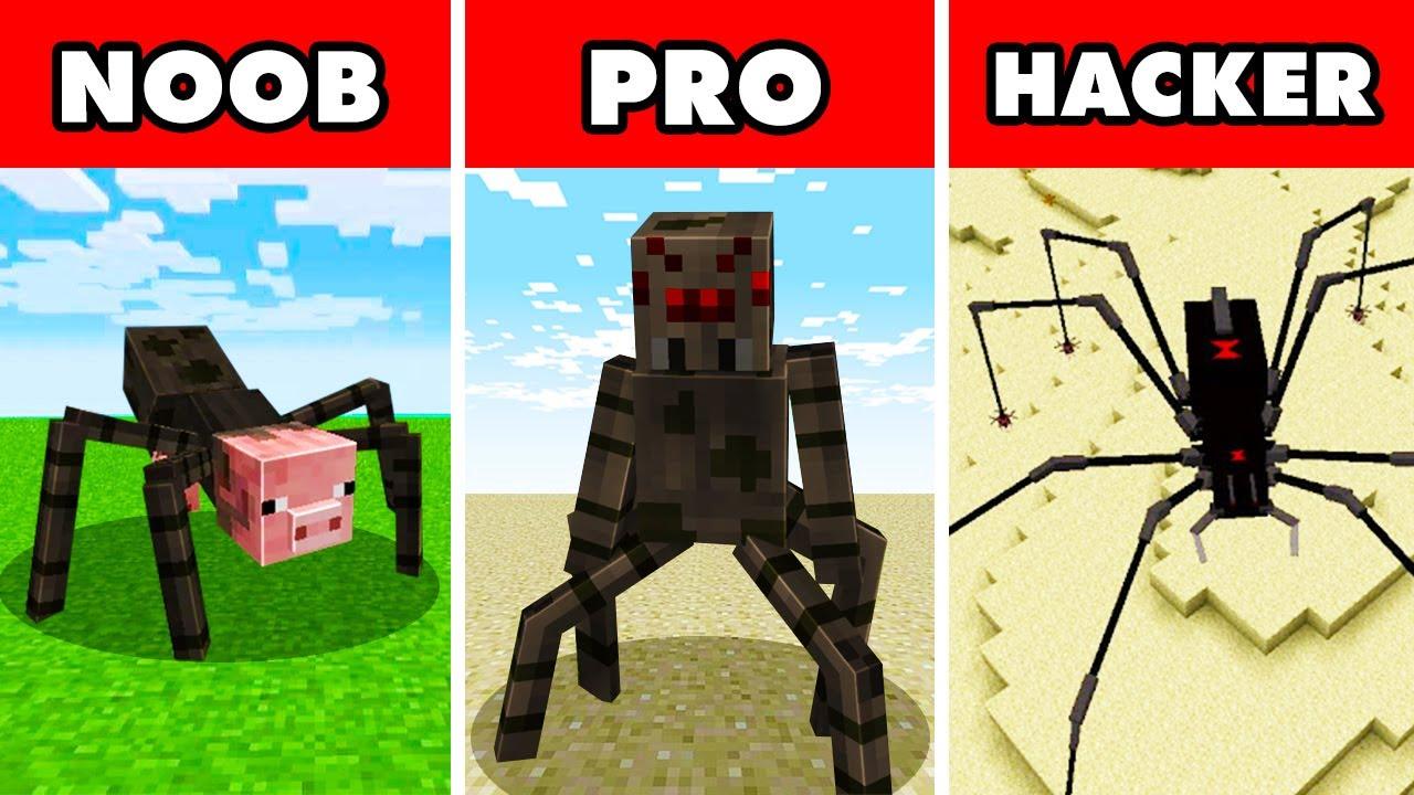 Download Noob vs. Pro vs. Hacker : MUTANT SPIDER APOCALYPSE CHALLENGE! In Minecraft Animation