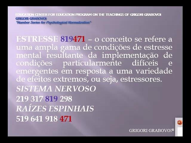 Testemunho sobre o uso da sequência numérica ESTRESSE 819471 do DR. GRIGORI GRABOVOI