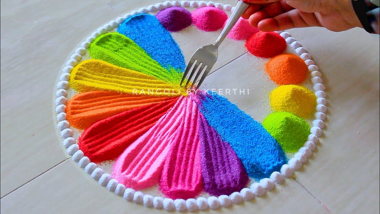 Simple rangoli design fork l unique rangoli designs l easy rangoli designs with colours l रंगोली