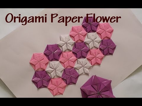 Origami paper flower - How to make origami flower wall art.