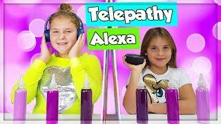 TWIN TELEPATHY ALEXA VS ELINA SLIME CHALLENGE !!!
