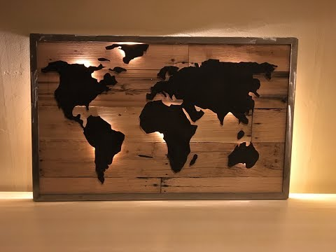 DIY Reclaimed Pallet Wood LED Map - Part 2