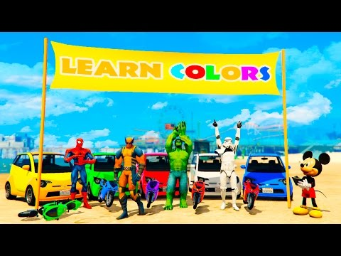 Thumbnail: LEARN COLORS Motorbike, Small Cars and Big Trucks with Superheroes for Children and Babies