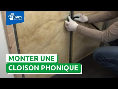 monter une cloison plaque placo phonique youtube. Black Bedroom Furniture Sets. Home Design Ideas