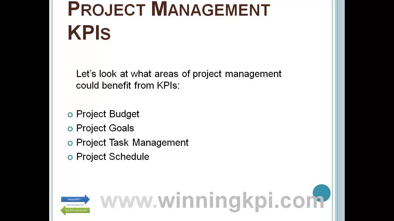 Project Management Kpis Examples Youtube