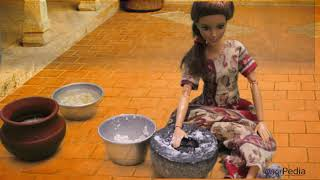 Barbie doll kitchen recipe #3- making Dosa Idly Batter in traditional Style