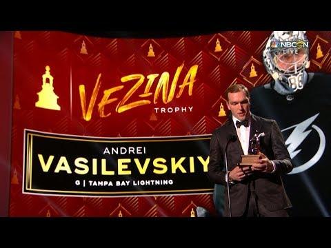 Andrei Vasilevskiy claims Vezina Trophy at NHL Awards