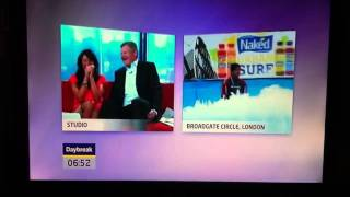Hilarious funny Indoor surfing fail, Gavin Ranjuan, Adrian Chiles and Christine Bleakley on Daybreak