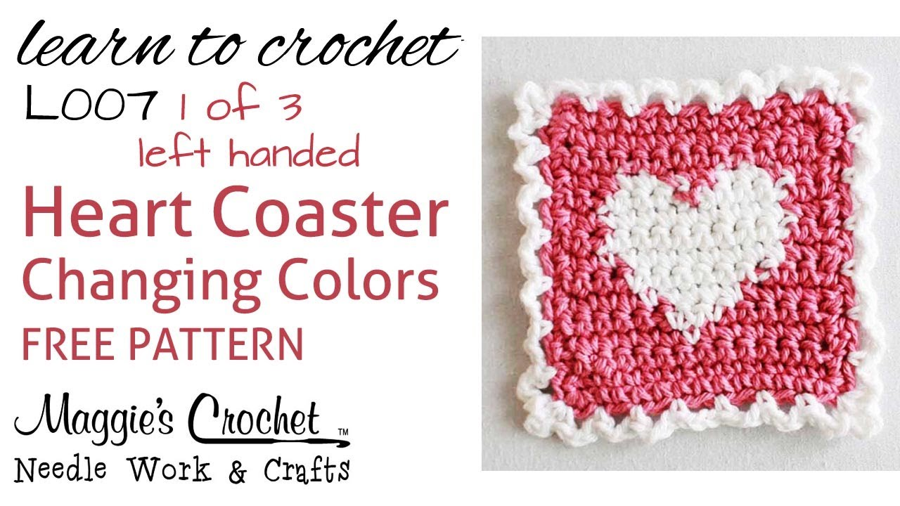 Part 1 of 3 Learn Crochet - CHANGING COLORS Intarsia - FREE Heart ...