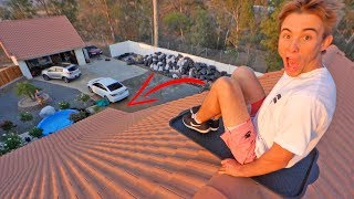SLEDDING DOWN MY 3 STORY ROOF! *EXTREMELY DANGEROUS*
