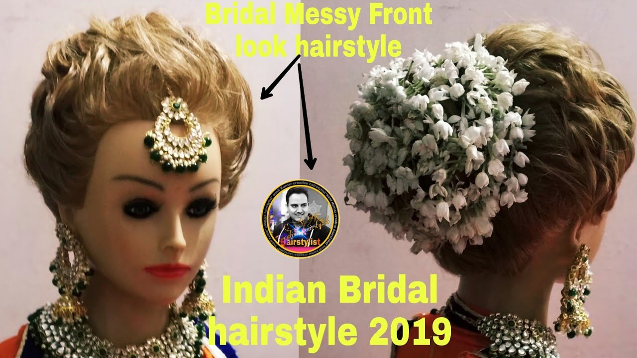 bridal hairstyle with gajra setting/ bridal front variation /how to set gajra on badal bun