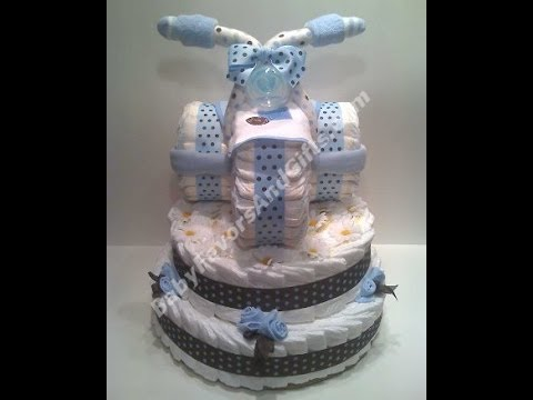 Tricycle Diaper Cake, Baby Shower Gift Ideas   YouTube