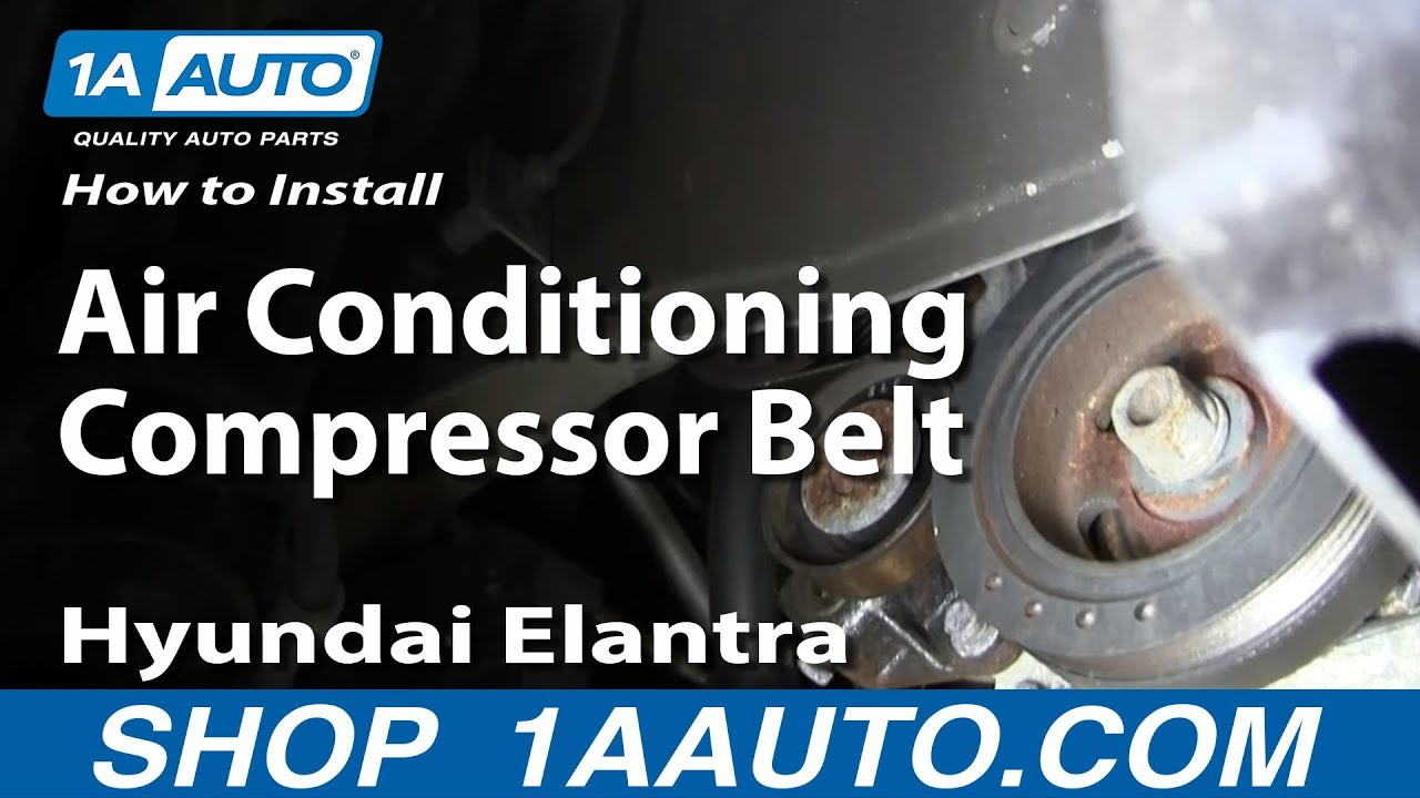 How To Install Replace The Air Conditioning Compressor Belt 2001 06 Hyundai Elantra 2 0l Youtube