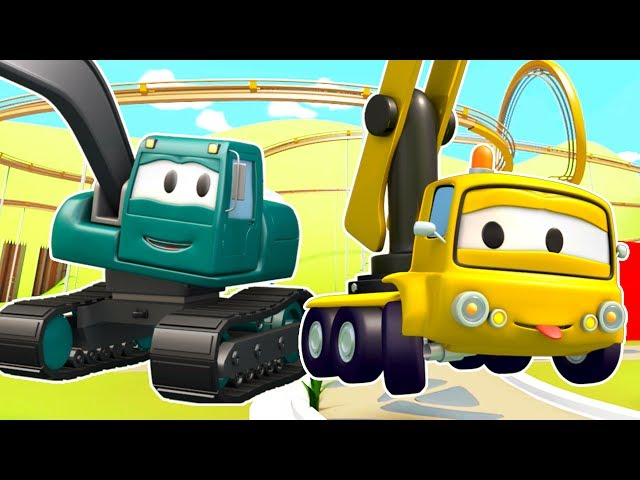 A MONTANHA RUSSA !! Turma da Construção: caminhão basculante, guindaste e máquina escavadora