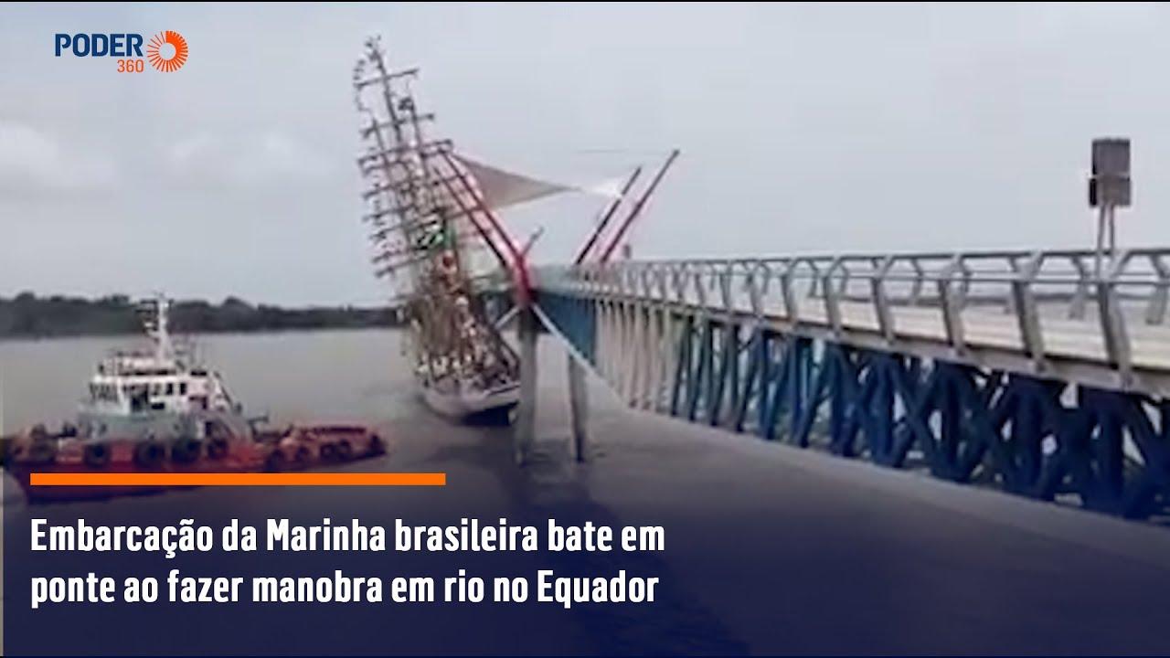 Download Embarcação da Marinha brasileira bate em ponte ao fazer manobra em rio no Equador