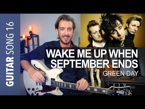 GREEN DAY - Wake Me Up When September Ends Electric Guitar Tutorial + SOLO
