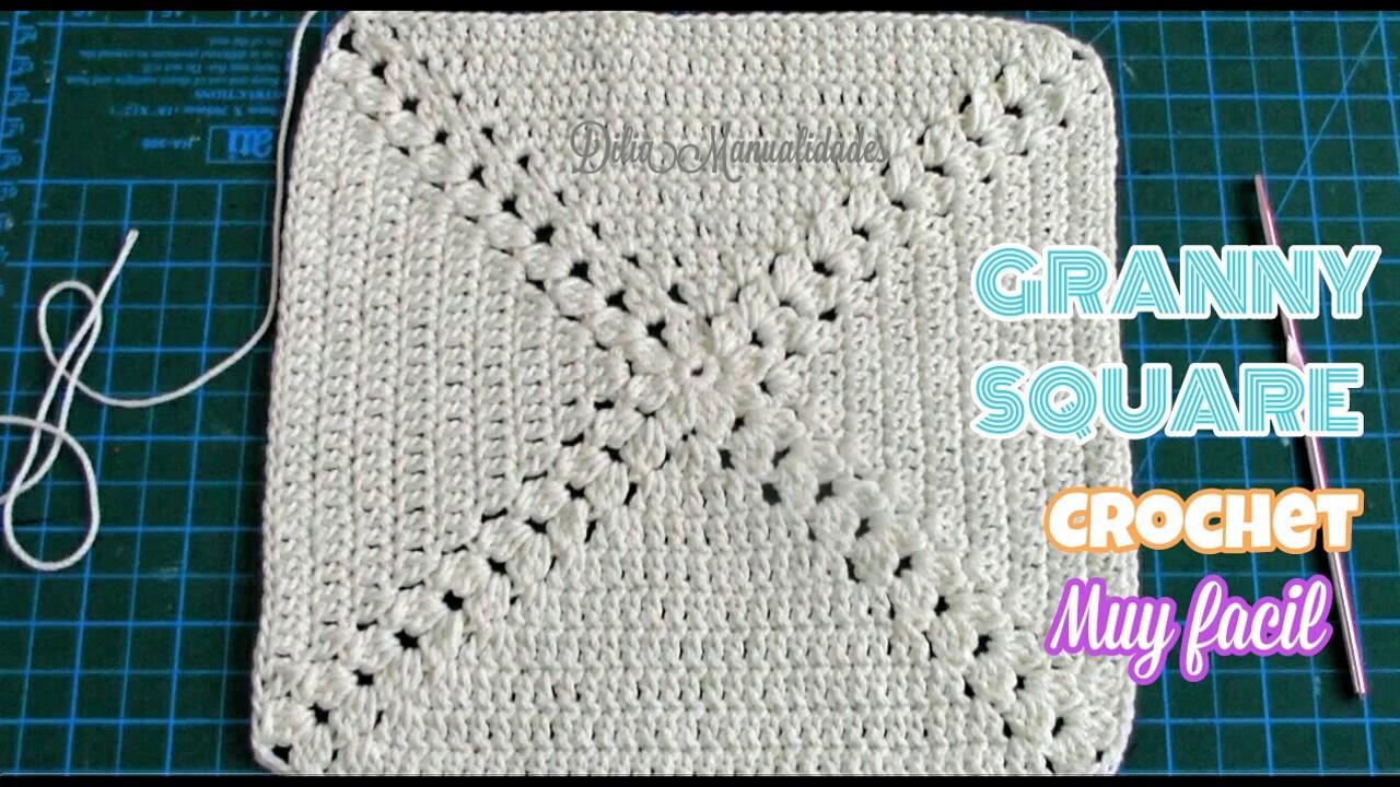 Perfecto Fácil Abuela Patrón De Crochet Cuadrado Elaboración - Manta ...