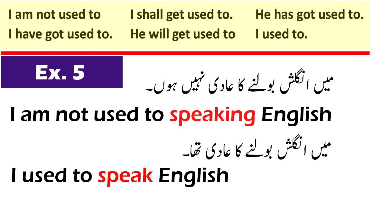 Used to In English Practice Example Sentences Exercise 5