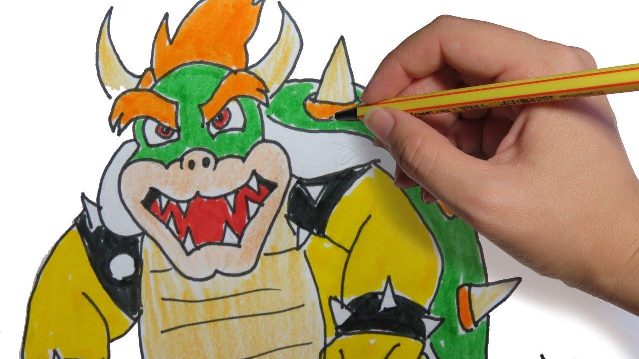 Como Dibujar A Bowser De Mario Bros Facil Paso A Paso Youtube