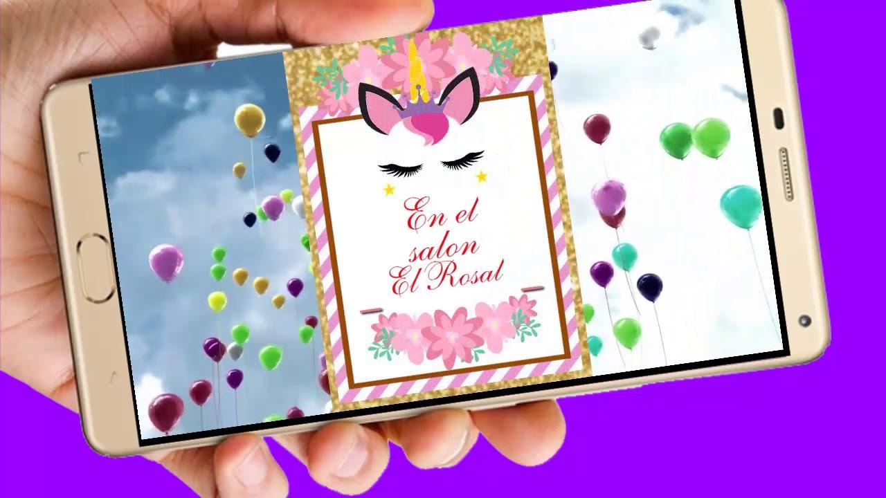 Unicornio Vídeo Tarjeta De Invitación Digital Para Cumpleaños Y Whapsapp Aquisevendeccs