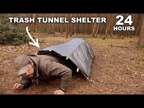 24 HOURS: Sleeping in a Trash Tunnel Stealth Shelter | Norwegian Military MRE | Solo Overnight