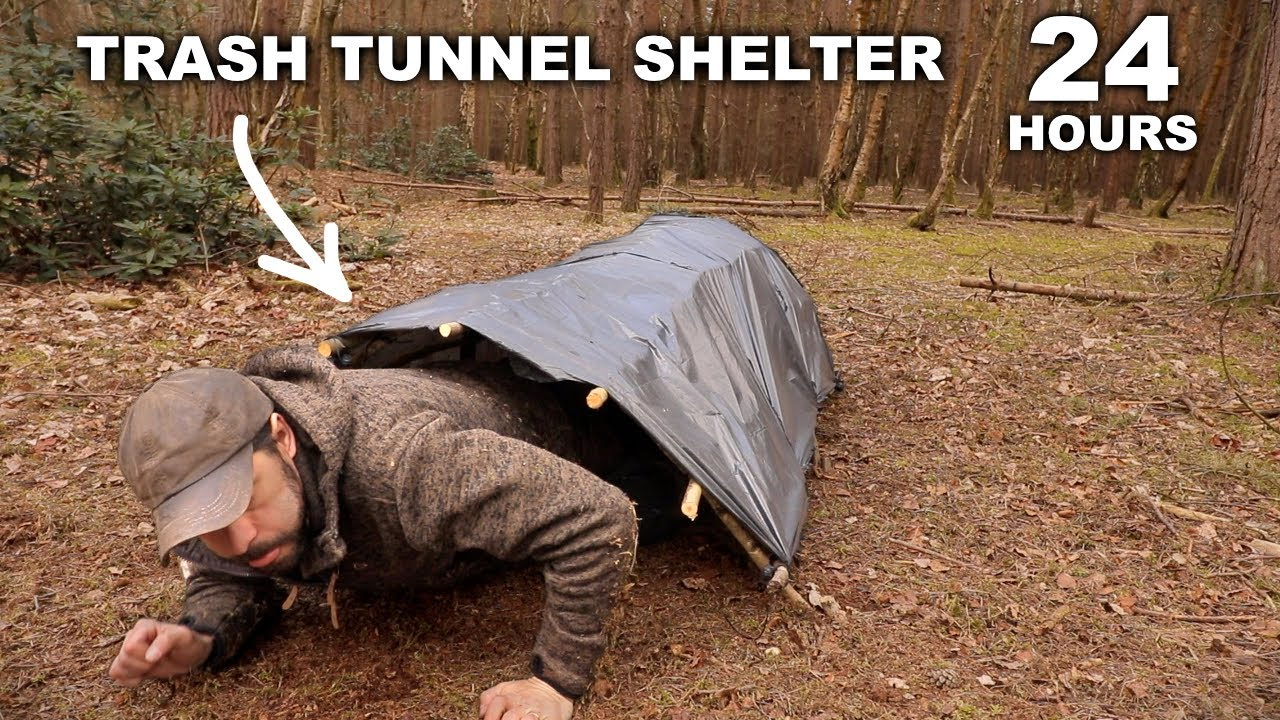 24 HOURS: Sleeping in a Trash Tunnel Stealth Shelter   Norwegian Military MRE   Solo Overnight