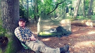 Summer camping in the woods | Bug net shelter | military issue mosquito net | Dakota fire pit