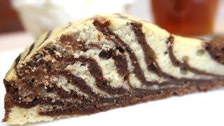 Пирог зебра на кефире Очень Просто и Вкусно