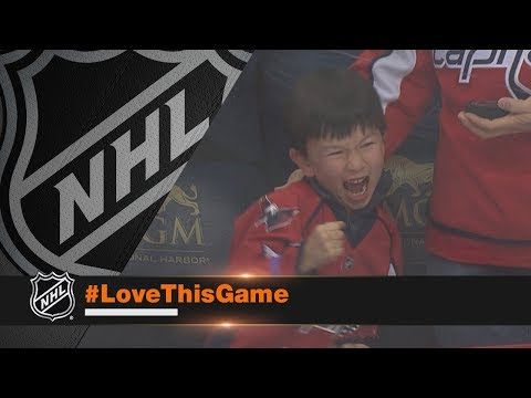 Young fan is overjoyed after receiving puck from Nicklas Backstrom