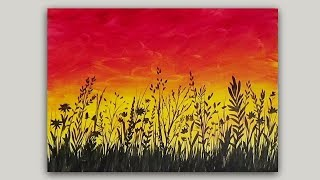 Acrylic Painting Wildflowers at Sunset Silhouette Easy Beginners Tutorial