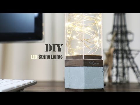 DIY Concrete Base LED Lamp l String Lights.