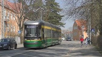 Helsingin raitiovaunu. Huhtikuu 2019. Helsinki tram. Трамвай в Хельсинки.