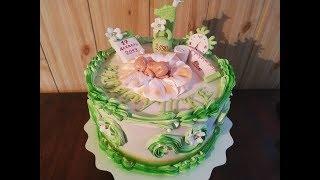 ПОШАГОВЫЙ МК, как украсить торт белково- заварным кремом и мастикой.Торт на годик. Юлия Клочкова.