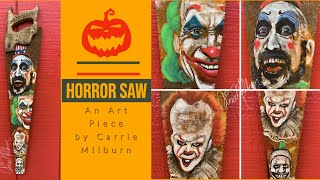 """""""Horror Saw"""" - Scary Clown Painting by Carrie Milburn"""