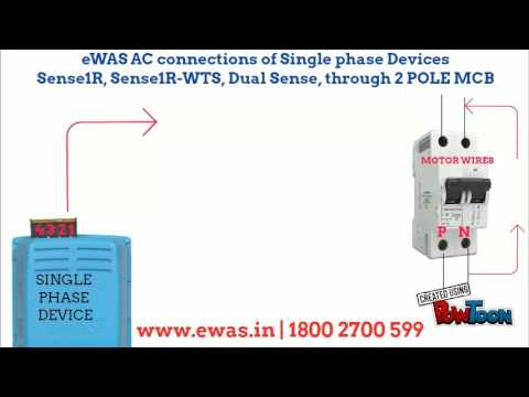 eWAS AC connections of SINGLE PHASE DEVICE WITH 2 POLE MCB - YouTube