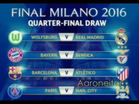 Sorteo de Cuartos de Final de la UEFA Champions League 2015-16 - YouTube