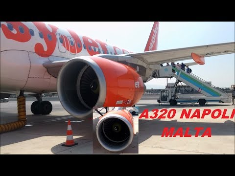 Airport naples.Flight Easyjet Napoli Malta July 2017.Take off and landing