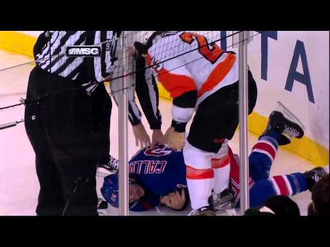 Ryan Callahan injury in scrum with Talbot 29 Jan 2013 Philadelpia Flyers vs NY Rangers NHL Hockey