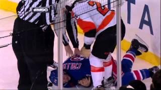Ryan Callahan injury in scrum with Talbot 29 Jan 2013 Philadelpia Flyers vs NY Rangers NHL Hockey