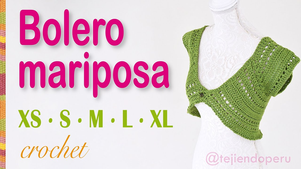 Bolero o torera mariposa tejido a crochet para mujeres en 5 tallas ...