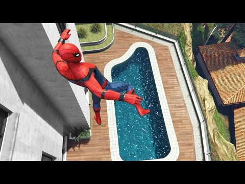 GTA 5 Funny Ragdolls Spiderman Jumps/Fails ep.14