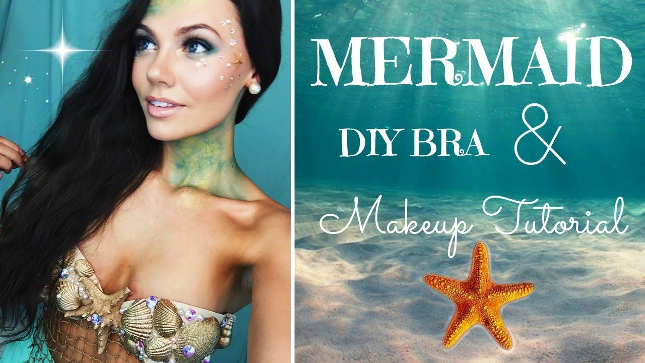 Halloween Tutorial Mermaid Makeup and DIY Bra! - YouTube