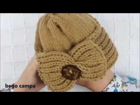 bego campa  GORRO NIÑA (dos agujas) - YouTube be150fb349b