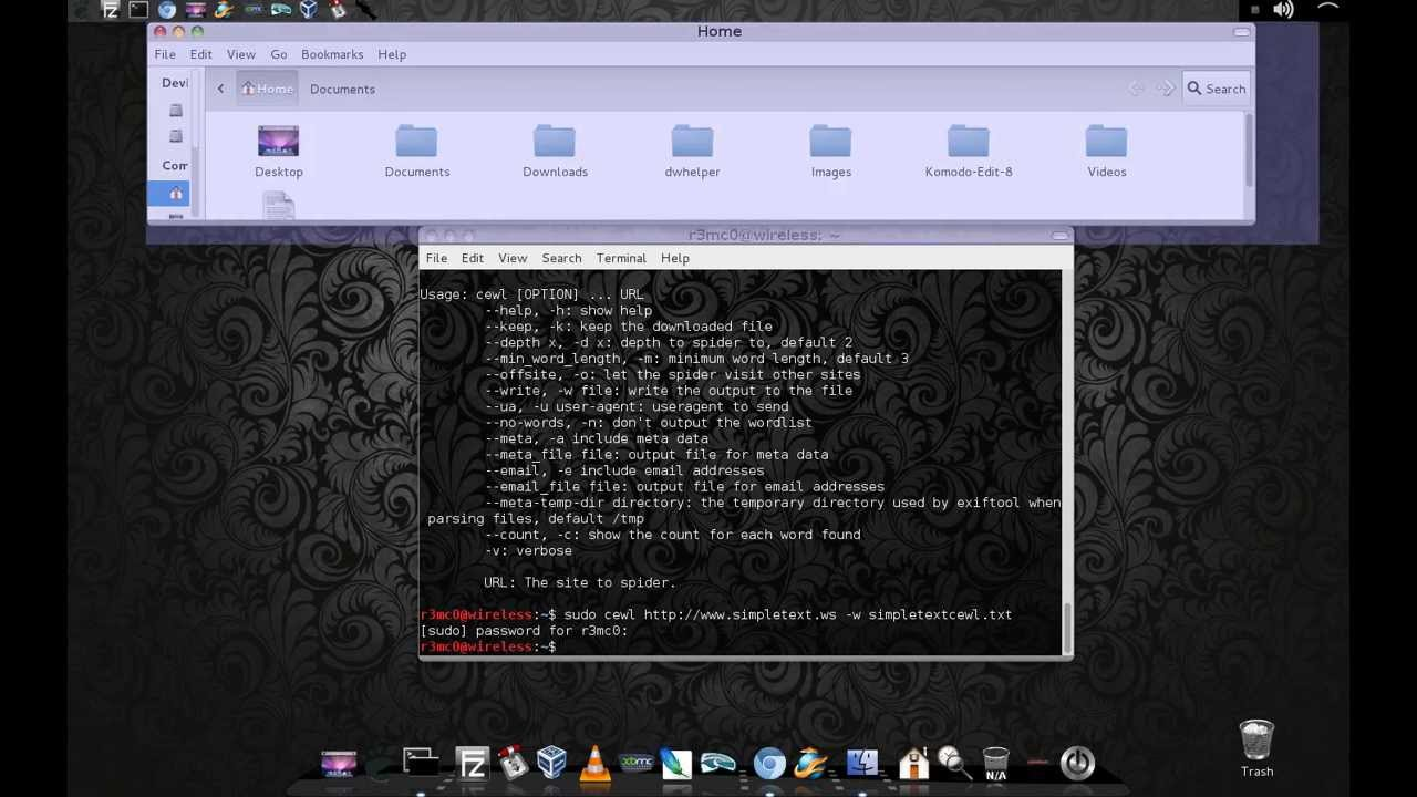 cewl wordlist generator on Kali Linux
