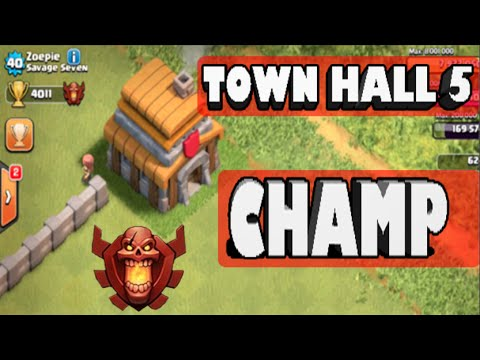 Clash of Clans - *TOWN HALL 5 CHAMPION AT 4,000 CUPS!* TH5 Highest Trophy Record!