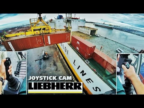 4k ULTRA HD Liebherr DUALCAM LHM550 Mobile Harbour Crane Dischrarging Grimaldi ship Port of Antwerp