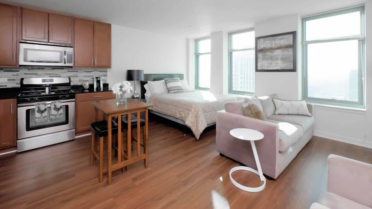 Tour a fulton river district model studio apartment at for Model studio apartments
