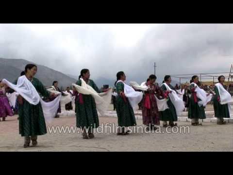 Ladakhi women folk dancers performing at the Singge Khababs festival in Leh