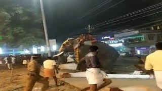 Panic and chaos as elephant taking part in religious ceremony runs loose